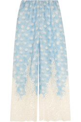 Rosamosario Amore In Kos Lace Trimmed Polka Dot Linen Pajama Pants Sky Blue