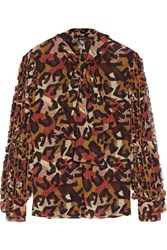 Just Cavalli Ruffle Trimmed Printed Georgette Top Red