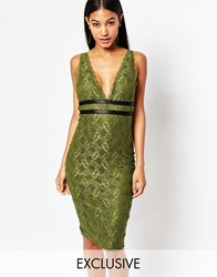 Naanaa Sexy Lace Pencil Dress With Strap Detail Khakiblack