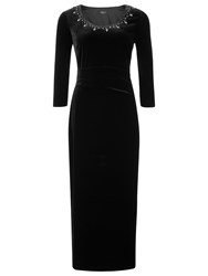Precis Petite Velvet Maxi Embellished Dress Black