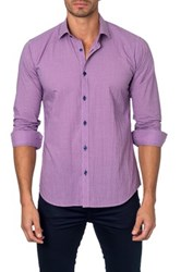 Jared Lang Long Sleeve Gingham Semi Fitted Shirt Pink