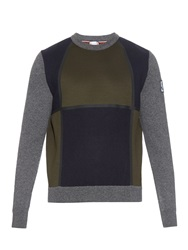 Moncler Gamme Bleu Colour Block Neoprene And Wool Knit Sweater