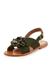 Marni Jeweled Calf Hair Crisscross Sandal Forest Night