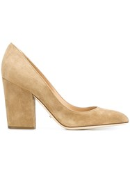 Sergio Rossi Block Heel Pumps Nude And Neutrals