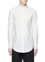 Song For The Mute Mandarin Collar Crinkled Cotton Shirt White