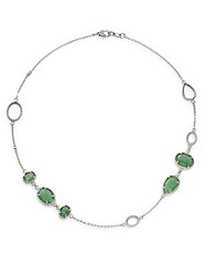 Judith Ripka Arabesque Green Aventurine White Sapphire And Sterling Silver Necklace Silver Green