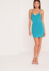 Missguided Plunge Strappy Low Back Bodycon Dress Blue Turquoise