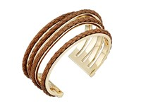 Cole Haan Leather Inlay Wavy Cuff Gold Chestnut Bracelet Brown