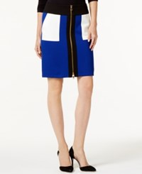 Inc International Concepts Colorblocked Zip Front Pencil Skirt Only At Macy's Black White Goddess Blue