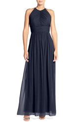 Women's Dessy Collection Ruched Chiffon Open Back Halter Gown