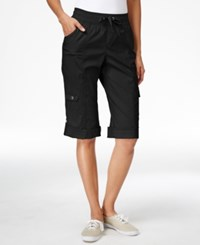 Styleandco. Style And Co. Sport Petite Cuffed Hem Capri Cargo Pants Only At Macy's Deep Black