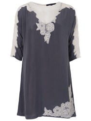 French Connection Isla Lace Tunic Top Mercury Mist