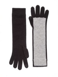Saks Fifth Avenue Bicolor Cashmere Gloves Black Grey Black Pink Grey Oatmeal