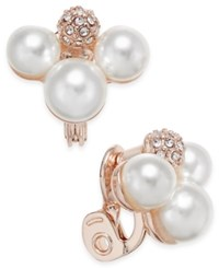Charter Club Rose Gold Tone Imitation Pearl Cluster Clip Earrings Only At Macy's