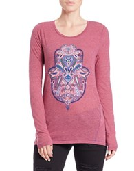 Lucky Brand Graphic Long Sleeved Tee Holiday Berry