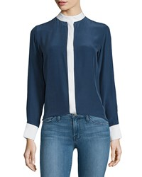 Frame Denim Le Classic Two Tone Silk Blouse Navy Size Xs