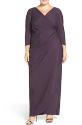 Alex Evenings Plus Size Women's Embellished Side Ruched Jersey Gown