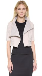 Yigal Azrouel Short Sleeve Cropped Suede Jacket Ivory