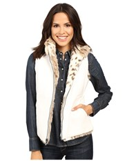 Scully Siena Reversable Faux Leather Fur Vest Cream Women's Vest Beige