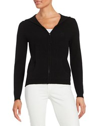 Lord And Taylor Hooded Zip Up Cashmere Sweater Black
