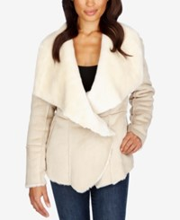 Lucky Brand Faux Shearling Jacket Natural