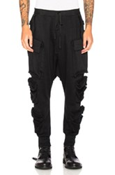 Unravel Terry Parachutes Cargo Pants In Black