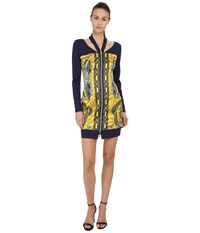 Versace Long Sleeve Zipper Front Printed Dress
