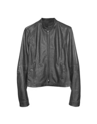 Forzieri Black Leather Band Collar Motorcycle Jacket