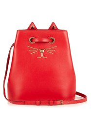 Charlotte Olympia Feline Leather Bucket Bag Red