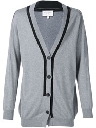Public School Contrast Trim V Neck Cardigan Grey
