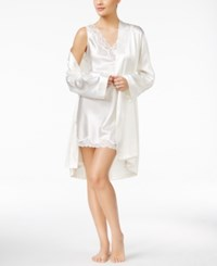 Thalia Sodi Satin Short Wrap Robe Ivory