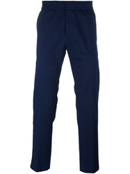 Msgm Elastic Waistband Straight Trousers Blue