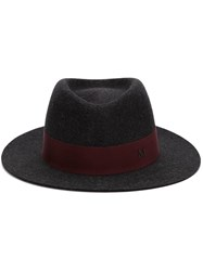 Maison Michel Contrast Band Trilby Grey