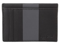 Jack Spade Striped Barrow Leather Id Wallet Black Magnet Wallet Handbags Silver