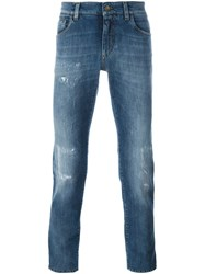 Dolce And Gabbana Distressed Slim Fit Jeans Blue