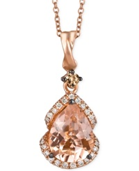 Le Vian Morganite 1 1 5 Ct. T.W. And Diamond 1 5 Ct. T.W. Pendant Necklace In 14K Rose Gold
