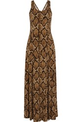 Michael Michael Kors Printed Stretch Satin Jersey Maxi Dress Brown