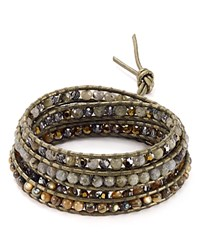 Chan Luu Swarovski Crystal And Leather Wrap Bracelet Abalone Mix