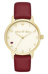Kate Spade Women's Metro Wine And Dine Leather Strap Watch 34Mm