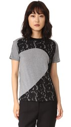 Carven Lace T Shirt Gris Chine Noir