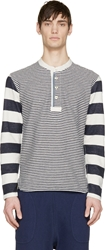 Junya Watanabe Beige And Blue Patched Border Stripe Shirt
