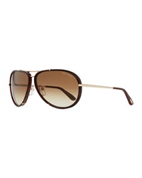 Tom Ford Cyrille Aviator Sunglasses Dark Havana Rose Golden
