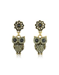 Alcozer And J Hanging Goldtone Brass W Crystals Drop Earrings