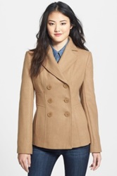 Kenneth Cole New York Wool Blend Peacoat Petite Beige