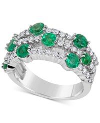 Macy's Emerald 1 3 4 Ct. T.W. And Diamond 5 8 Ct. T.W. Ring In 14K White Gold