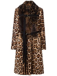 Givenchy Mix Fur Leopard Print Coat Brown