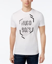 Hugo Boss Green Men's Graphic Print Logo T Shirt White