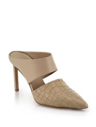 Vince Corinne Leather And Snake Embossed Leather Mule Pumps Nude