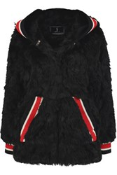 Goen J Faux Fur Hooded Coat Black