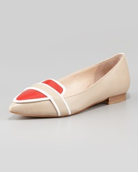 Pour La Victoire Bethany Tricolor Pointy Toe Flat Beige White Red